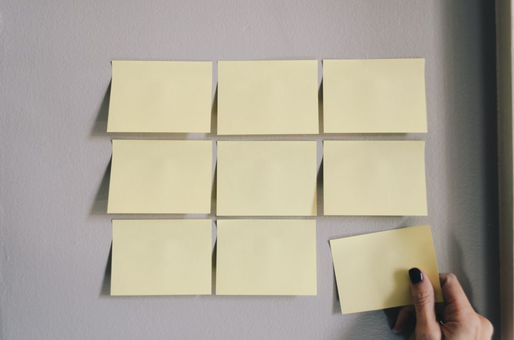 sticky notes on the wall