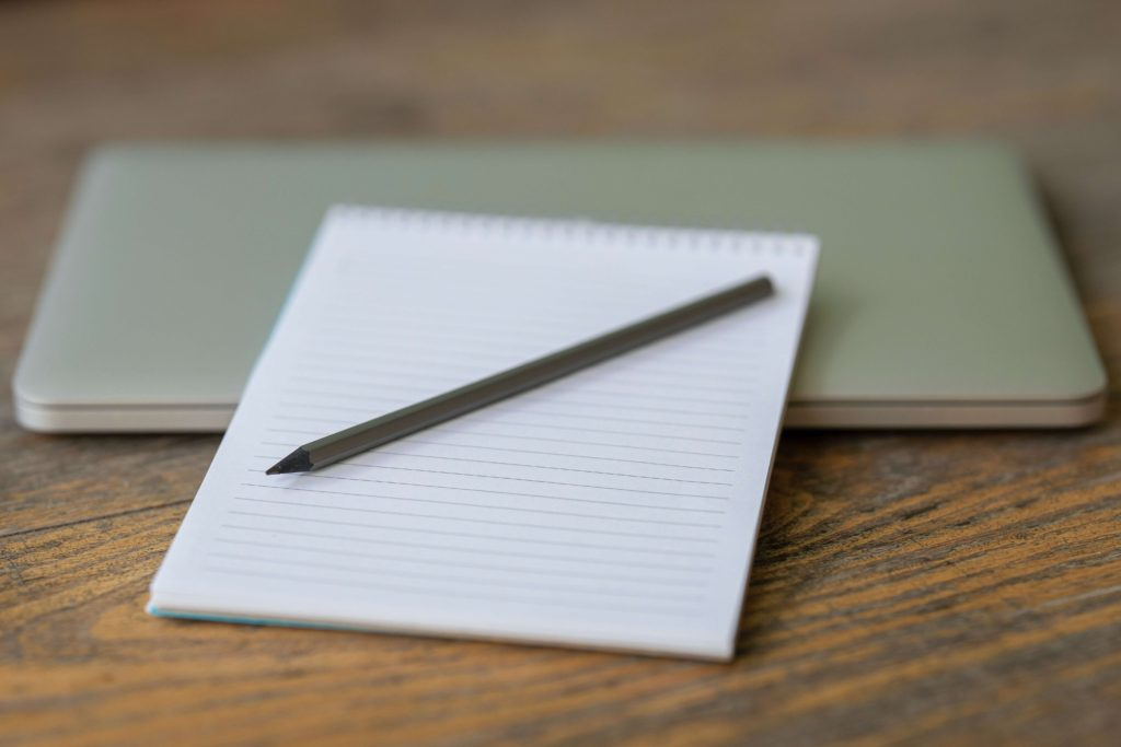 note pad and a pen