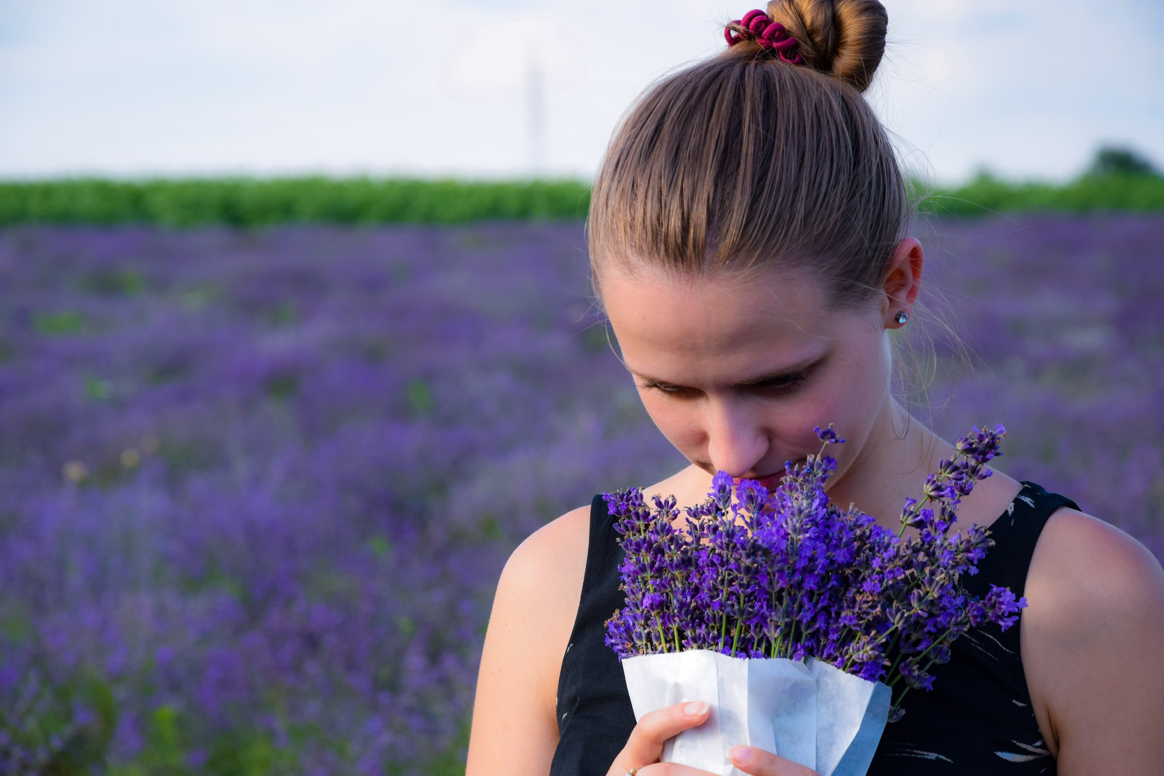 Smelling lavenders