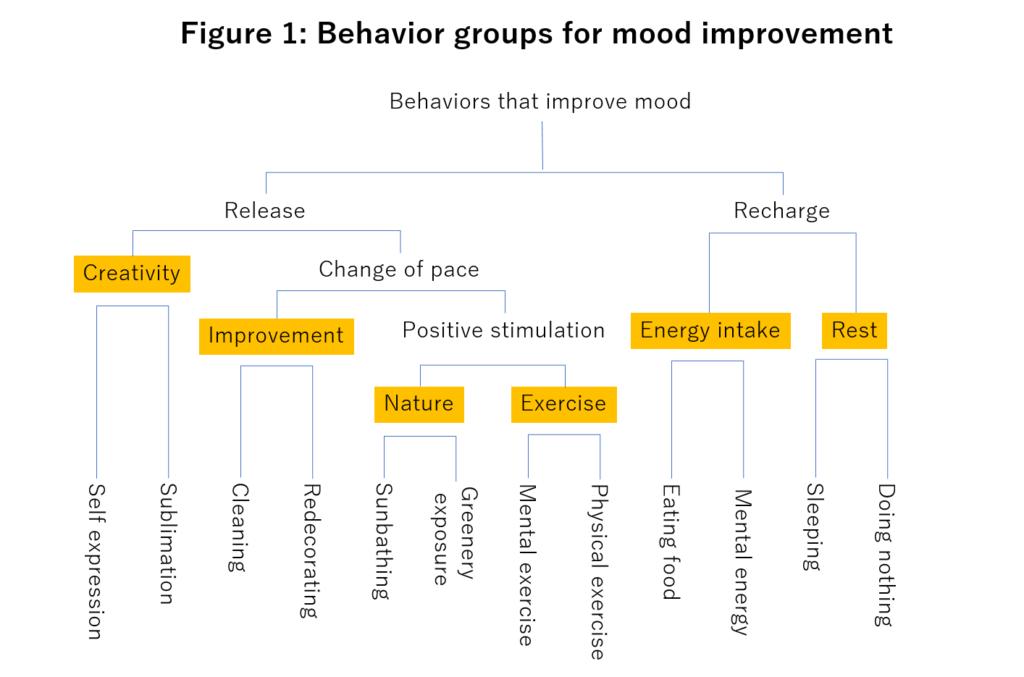 Figure 1: Behavior groups for mood improvement.